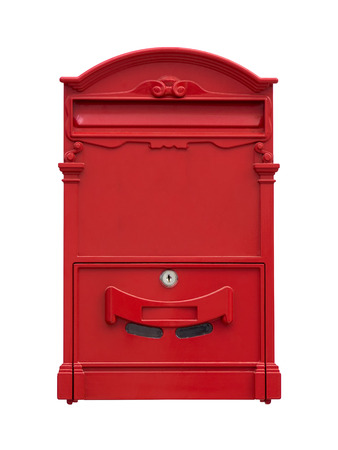 Red mail box isolate on a white background. photo