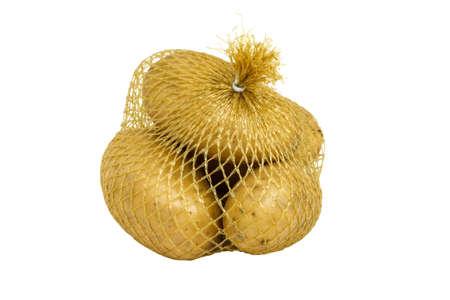 A plastic mesh net bag of potatoes on white background photo