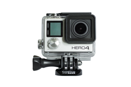 cam gear: Bangkok, thailand - may 15, 2015:  GoPro Hero 4 Black Edition isolated on white background.manufactured by GoPro Inc.pro