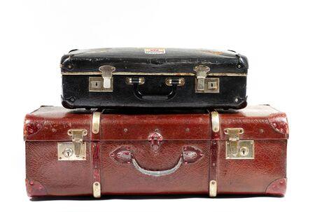 portmanteau: Vintage suitcases on white background Stock Photo