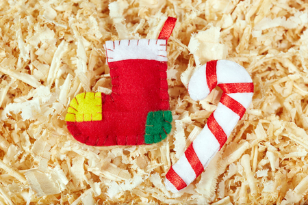 christmas stockings: Handmade Christmas stockings and candy cane Stock Photo