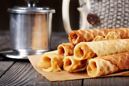 Waffle rolls with milky caramel cream