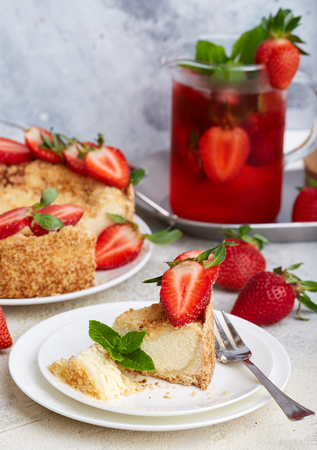 Cheesecake with strawberries. Sweet homemade dessert.