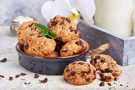 Cookies with oat flakes and chocolate drops. Delicious sweet dessert. Banco de Imagens