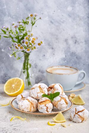 Lemon cookies with cracks. Delicious homemade sweet dessert
