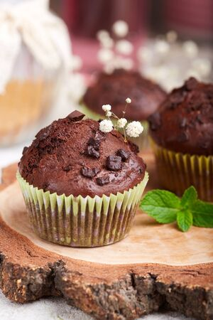 Chocolate Muffins with pieces of chocolate. Delicious homemade sweet dessert. Coffee break