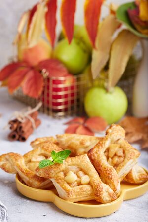 Delicious puff pastries with apples, plums and cinnamon. Sweet autumn dessert