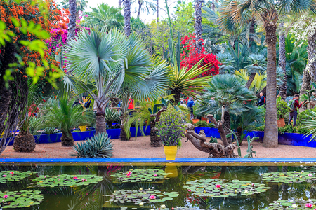 The Majorelle Garden is a botanical garden and artists landscape garden in Marrakech, Morocco. 18 april 2019
