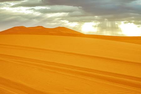 Beautiful sand dunes in the Sahara desert. Morocco