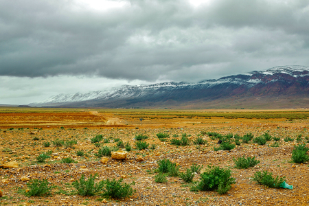 Beautiful winter panorama of mountains BOUIBLANE - MOROCCO, beautiful nature among the mountains