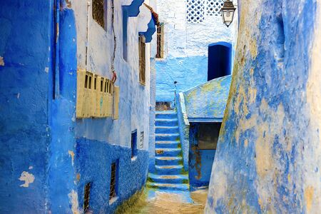 Chefchaouen, a city with blue painted houses. A city with narrow, beautiful, blue streets. Chefchaouen, Morocco, Africa Stock Photo