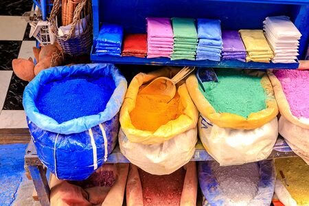 Bags with powder for paint, which are sold in the clear in the city of Chefchaouen. Morocco