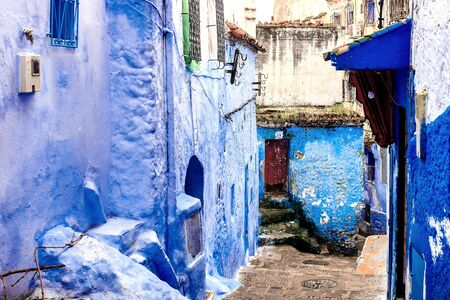 Chefchaouen, a city with blue painted houses. A city with narrow, beautiful, blue streets. Chefchaouen, Morocco, Africa