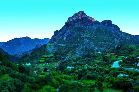 Beautiful sunset in a mountain valley along the road to Chefchaouen in Morocco, Africa
