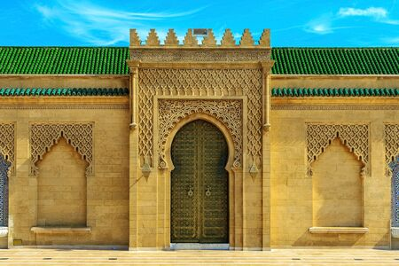 Moroccan styles door at the Mohammed V mausoleum in Rabat Morocco, Africa, 22.04.2019