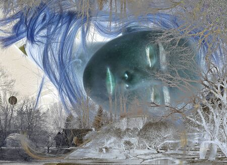 Portrait of a blonde girl with freckles on her face that lies on the ground with her eyes closed. Along the edges of the photograph is a house with trees and a pond. Double exposure. Sleep composition