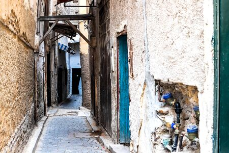 The streets of the old town of Fez, which are locals and children. Lifestyle, Fez, Morocco