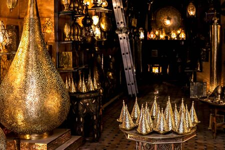 Moroccan antique lamps in a squire shop. Fes, Morocco