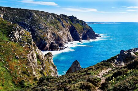 Beautiful seascape. A view of the Atlantic Ocean from the rock cape. Sintra. The rock cape. Lisbon. Portugal