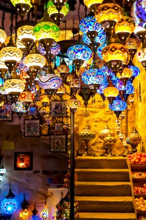 Gift shop with a variety of Turkish lamps for sale. The background is blurred, out of focus. Kotor, Montenegro