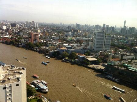 chao: A view of Bangkok skyline and Chao Phraya river Stock Photo