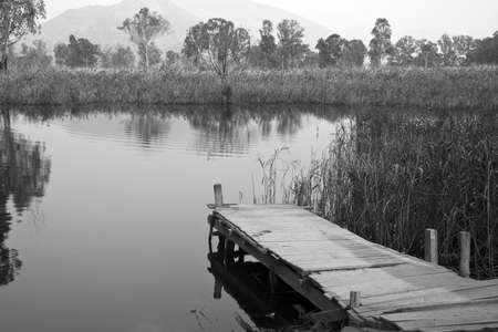 mood moody: Lake in Nam Sang Wai, Hong Kong, in gray color. Stock Photo