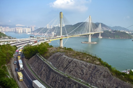 Ting Kau Bridge in Hong Kong. Stock Photo - 9412149