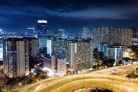 Modern Building in Hong Kong, in night time. photo