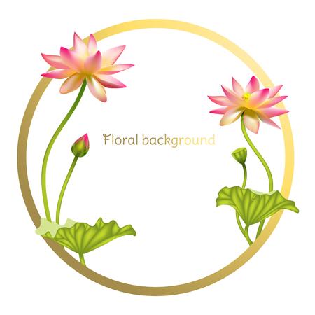 Roze lotus. Florale achtergrond. Bloemen. Het gouden frame.