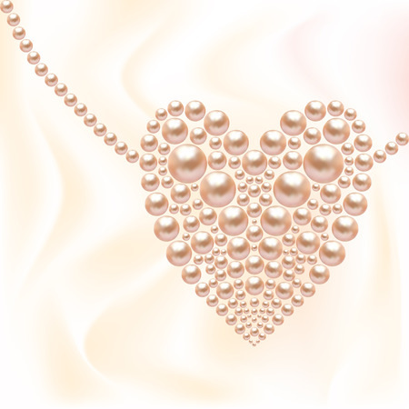 Heart of pearls. St. Valentines Day. Pink beads. Necklace in the shape of heart.