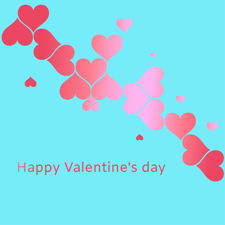 Valentine's Day card with hearton a cyan background Vector illustration.