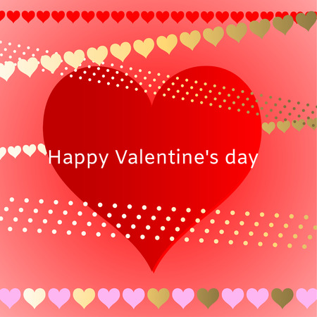 Valentine's Day card with heart in different sizes and colors  Vector illustration.