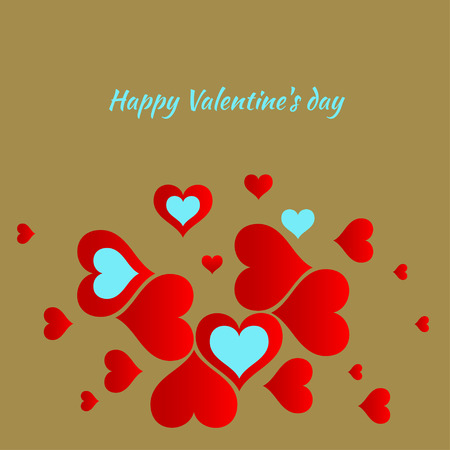 Valentine's Day card paper cuts of hearts Vector illustration