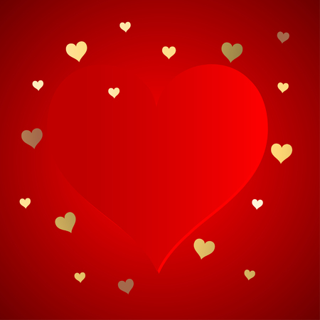 Valentine's Day with a big red heart and gold hearts confetti on a red background