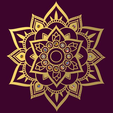 Mandala Ethnic pattern. Gems Decoration Circular pattern. East Indian ornament Vector illustration.