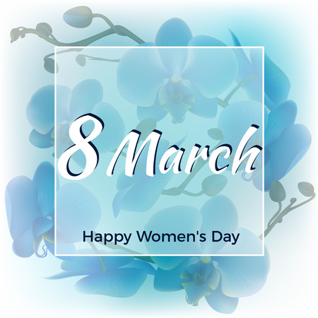 March 8 Blue orchids Holidays Women's Day Congratulation Card. Ilustrace