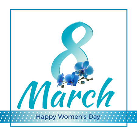 March 8. Blue orchids. Holidays. Women's Day. Congratulation. Card. Ilustrace