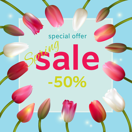 Sale. Tulips. Discounts. Spring flowers. Frame. Border. Advertising. Vector illustration. Ilustrace