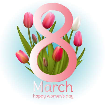 March 8. Tulips. Holidays. Women's Day. Spring flowers. Frame. Border. Vector illustration.