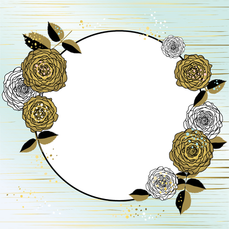 Roses. Flower pattern. Frame. Gold. Card. Plants. Drawing. Ilustrace