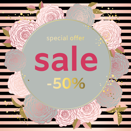 Roses. Sale. Discounts. Flower pattern. Frame. Gold. Card. Plants. Drawing.