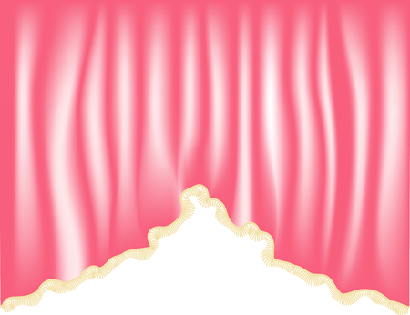 Pink curtains or cloth, the object of the interior. Ilustração