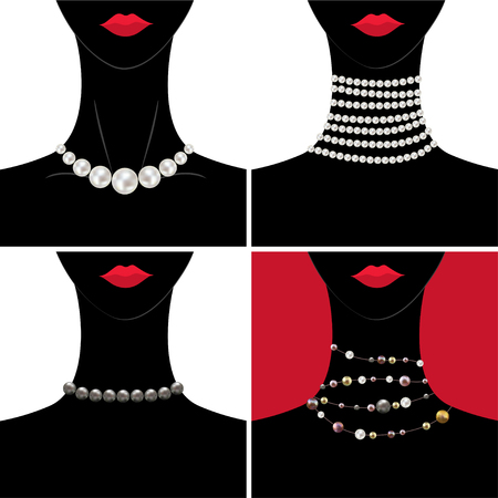 Pearl. Necklace. The woman's neck. Decoration. Beads. Jewelry. Garland. Luxury item. Ilustrace