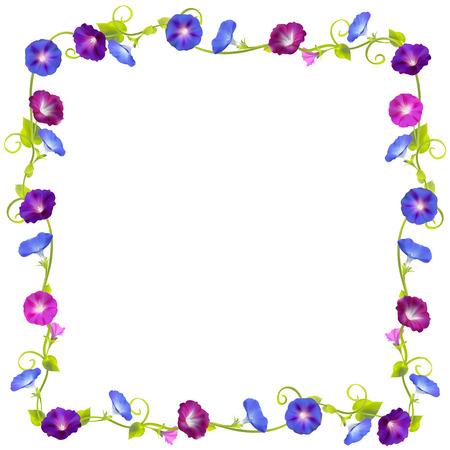Convolvulus. Bindweed. Flowers. Floral background. Crocheted plants. Frame. Border. Card. Vector illustration.