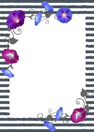 Floral background Crocheted plants. Frame Border Card Vector illustration. Imagens - 93594048