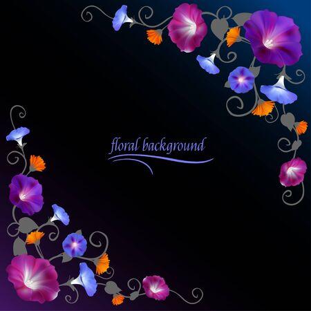 Floral background Crocheted plants Vector illustration. Ilustrace