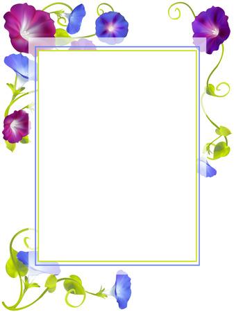 Bloemen. Winde. Winde. Florale achtergrond. Gehaakte planten. Frame. Grens. Kaart. Vector illustratie Stock Illustratie