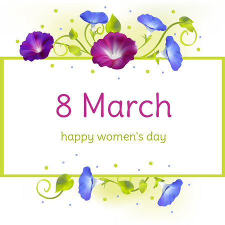 March 8. International Women's Day. Holidays. flowers. Convolvulus. Horizontal floral pattern. Border. Curling plant.