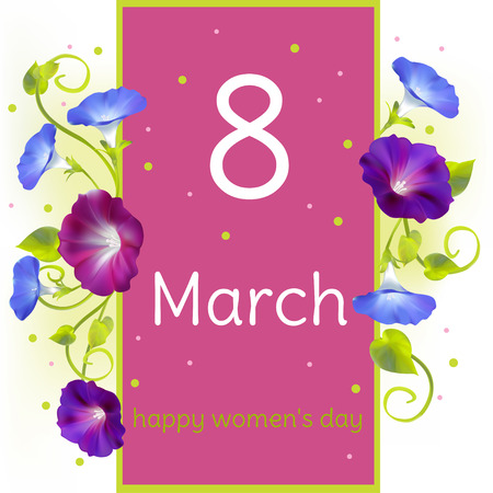 March 8. International Womens Day. Holidays. Flowers. Convolvulus. Horizontal floral pattern. Border. Curling plant.