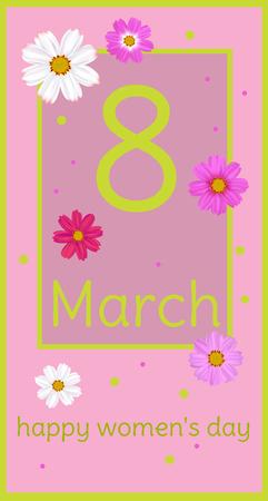 March 8 Flowers, Women's Day. Festive vector illustration.